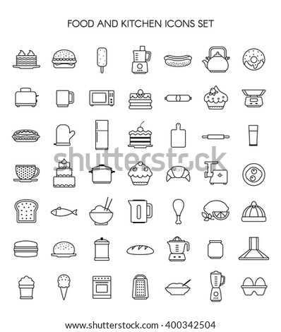 Food cooking restaurant and kitchen appliances vector thin line icons set  - stock vector