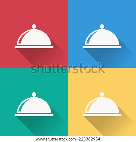 food cover icon , flat design on 4 color background - stock vector