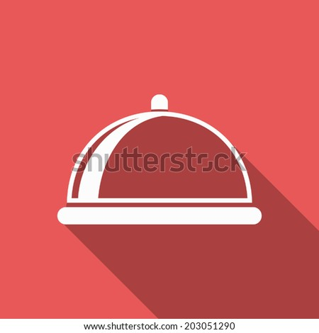 food cover icon with long shadow - stock vector