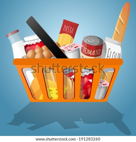 Food decorative elements collection in shopping basket vector illustration - stock vector