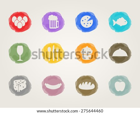food deli icons set for restaurant and bar - stock vector