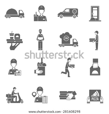Food delivery and courier 24 hours black white flat icons set isolated vector illustration
