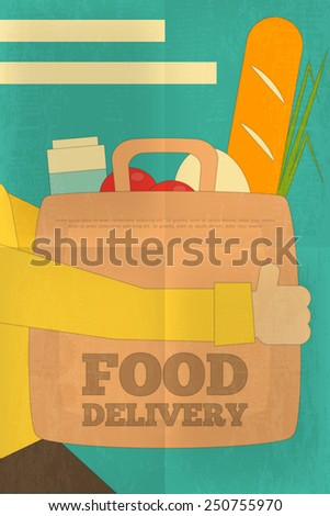 Food Delivery. Couriers Deliver Package with Products. Poster in Retro Style. Flat Character Design. Vector Illustration. - stock vector