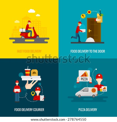 Food delivery fast to the door and by courier flat icons set isolated vector illustration  - stock vector