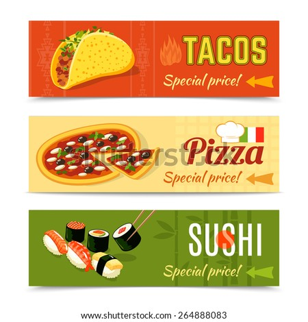 Food delivery horizontal banner set with tacos pizza sushi isolated vector illustration