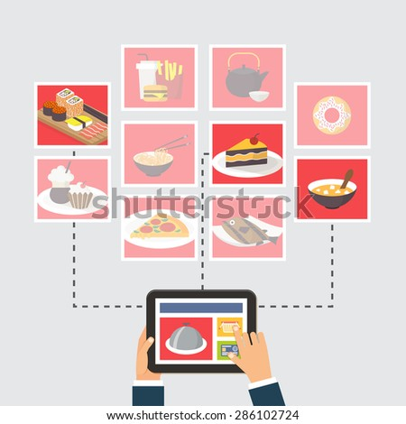 Food delivery online order recipe searching stock vector 286102724 food delivery online order or recipe searching flat design vector illustration forumfinder Gallery