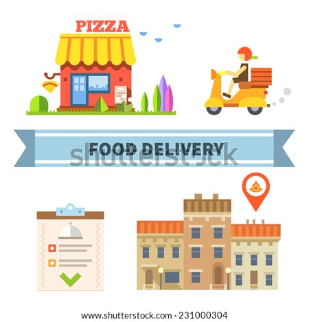 Food delivery. Restaurant, cafe, pizzeria. Vector flat illustration - stock vector