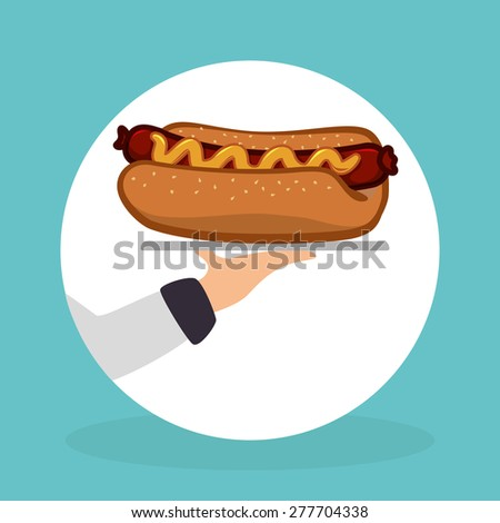 Food design over blue background, vector illustration. - stock vector