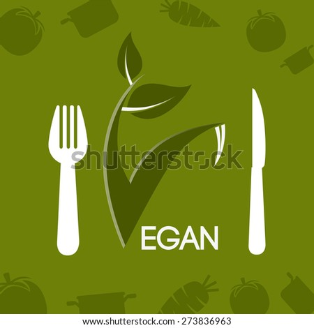 Food design over green background, vector illustration.
