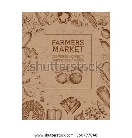Food design template. Vintage farm logo and vegetables. Logotype. Farmers market.  Sketch. Inscription. Kraft paper. - stock vector