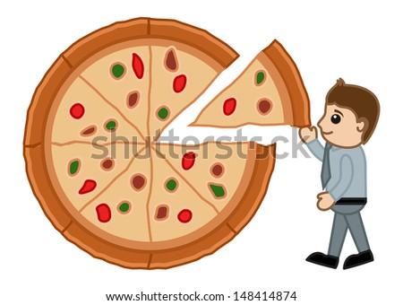 Food Diet Balance - Pizza - Cartoon Business Vector Character - stock vector