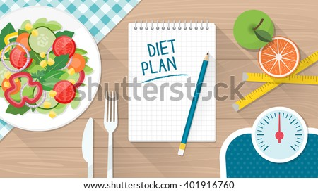 Food, diet, healthy lifestyle and weight loss banner with a dish of salad, table set and scale - stock vector