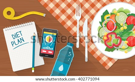 Food Diet Healthy Lifestyle And Weight Loss Banner With A Dish Of Salad