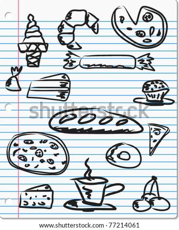 food doodle on paper, vector - stock vector