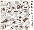 Food doodles collection. Vector illustration. - stock vector