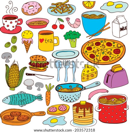Food Doodles set, for banners, backgrounds, presentations.  - stock vector