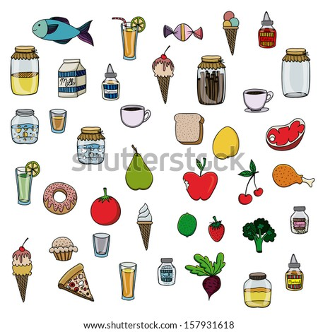 food drawing over white background vector illustration - stock vector