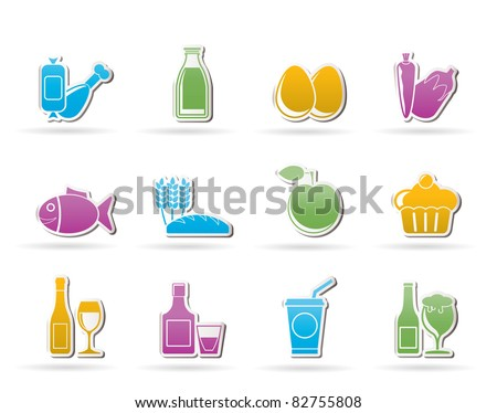 Food, drink and Aliments icons - vector icon set - stock vector
