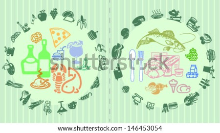 Food, drink and products collage - stock vector