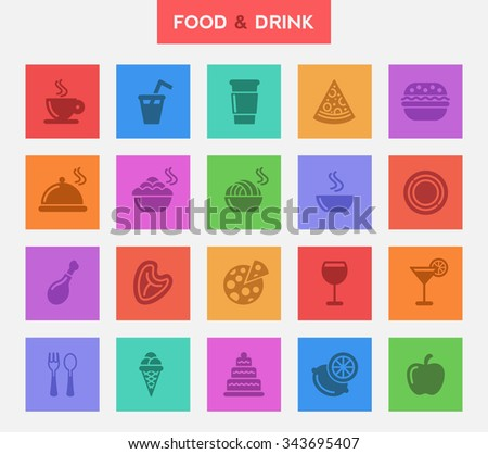 FOOD & DRINK - Flat Square Buttons