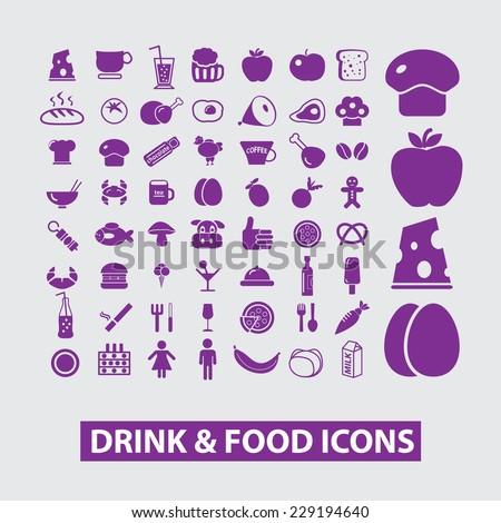 food, drink, grocery store icons, signs, illustrations, vectors set - stock vector