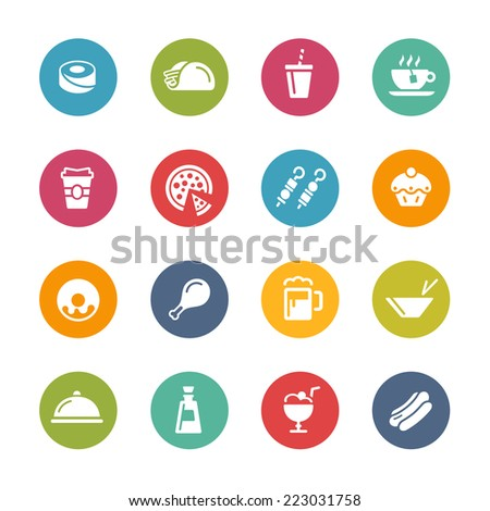 Food & Drink Icons - 2 // Fresh Colors Series ++ Icons and buttons in different layers, easy to change colors ++ - stock vector