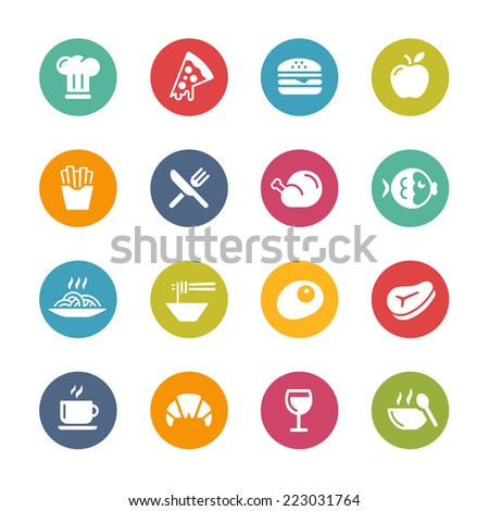 Food & Drink Icons - 1 // Fresh Colors Series ++ Icons and buttons in different layers, easy to change colors ++ - stock vector