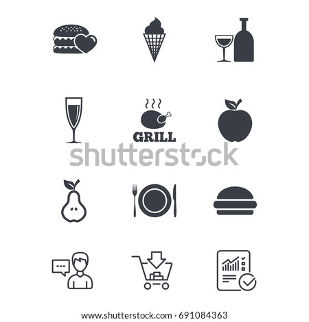 Food Drink Icons Grill Burger Ice Stock Vector 691084363 Shutterstock