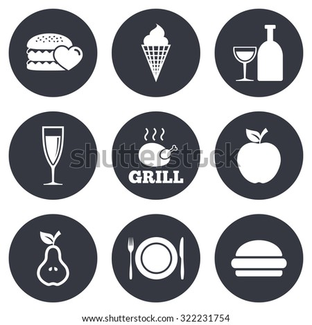 Food, drink icons. Grill, burger and ice cream signs. Chicken, champagne and apple symbols. Gray flat circle buttons. Vector - stock vector