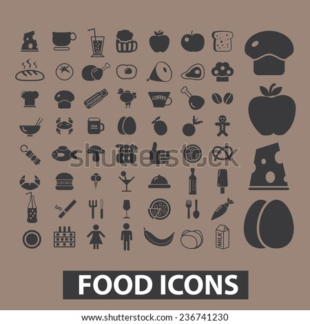 food, drink, vegetables, restaurant, menu icons, signs set, vector - stock vector
