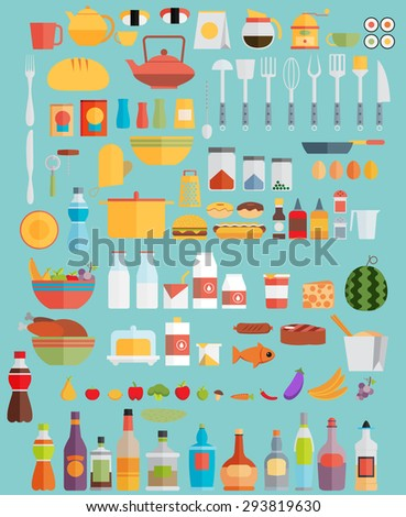Food,drinks and kitchenware. Flat illustration