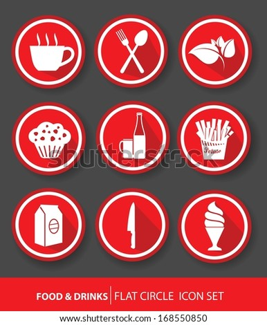Food & drinks buttons,Red version,vector - stock vector