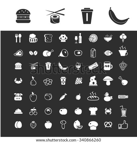 food, drinks, grocery  icons, signs vector set for infographics, mobile, website, application  - stock vector