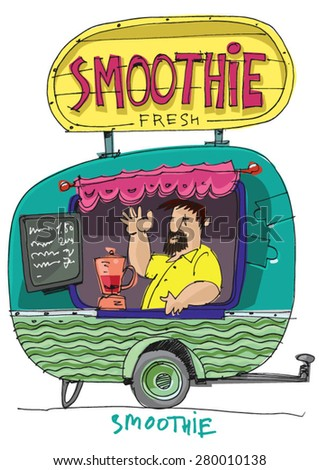 food fest kiosk - smoothie - cartoon - stock vector