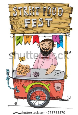 food festival cart - cartoon - stock vector
