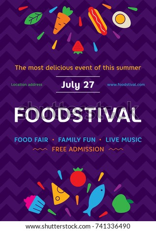 Food Festival Poster Design Template Vector Street Fair Logotype Illustration With Fresh Fruits Vegetables