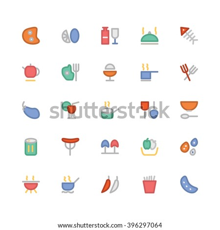 Food flat bold Vector Icons 3