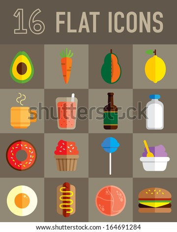 food flat icons - stock vector