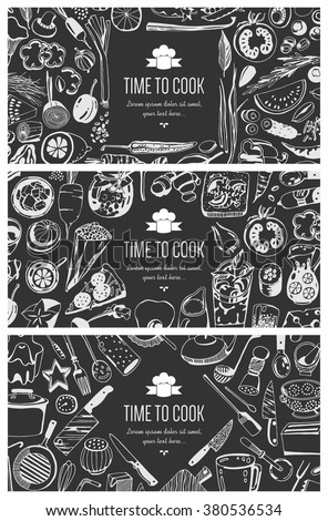 Food flyer set - kitchen tools, vegetables, food - stock vector
