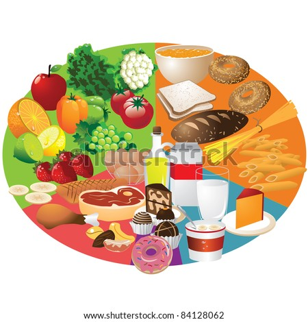 Food Groups Food groups arranged in the new recommended plate shape. EPS 8 vector, cleanly built with no open shapes or strokes. Grouped for easy editing. - stock vector