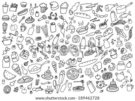 Food Hand Drawn Cartoon Set - stock vector