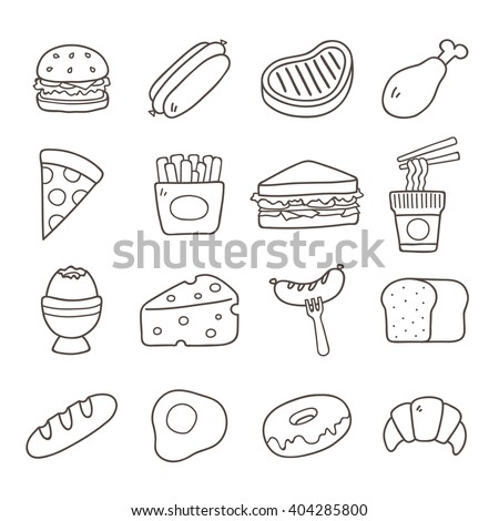 Food. Hand Drawn Doodle Icon. - stock vector