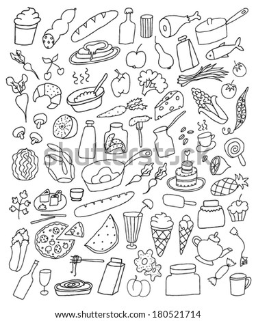 Food hand drawn set - stock vector