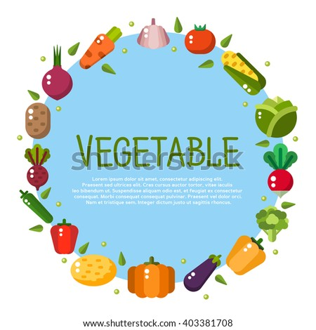 Food hand drawn vector elements. Banners with flat vegetable icons for vegetarian restaurant home cooking menu and organic healthy eating recipes