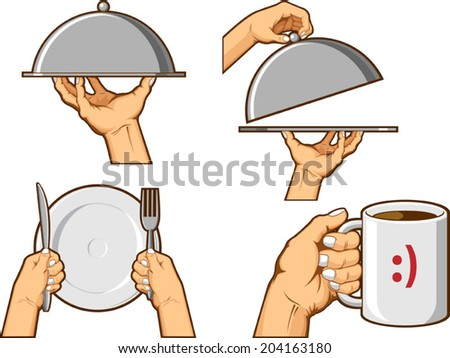 Food Hand Sign - Serving Tray and Holding Mug - stock vector
