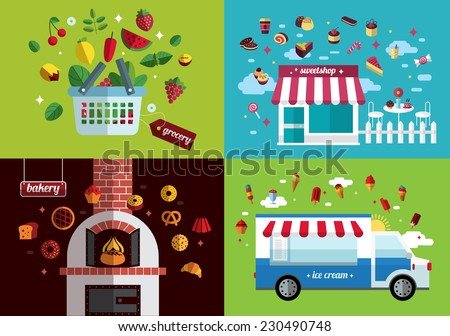 food icon collection. shop, grocery, bakery and confectioner.  flat design - stock vector