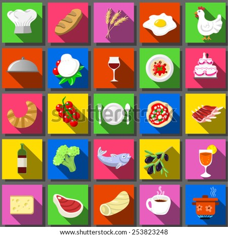 Food Icon Collection Twenty Square Flat Icons Vector Illustration. Infographic Elements Food Icons.