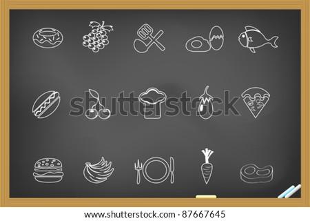 food icon on blackboard - stock vector