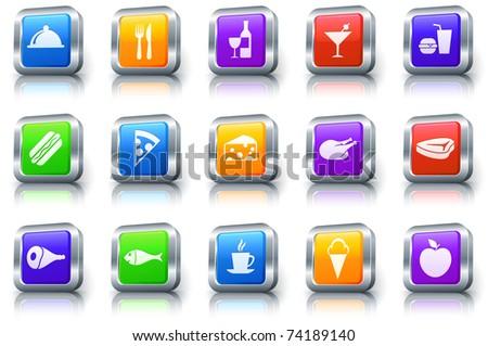 Food Icon on Square Button with Metallic Rim Original Illustration - stock vector