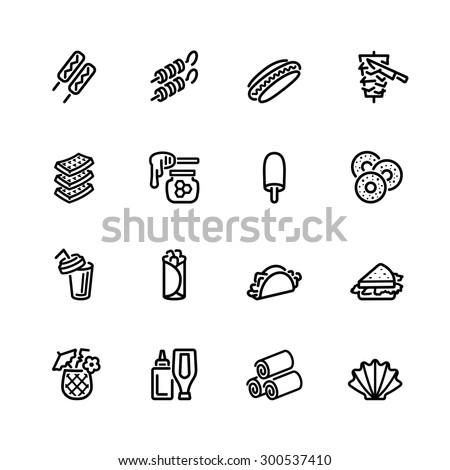 food icon set - stock vector